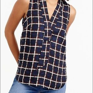 J.Crew Silk-Twill Top In Windowpane Print